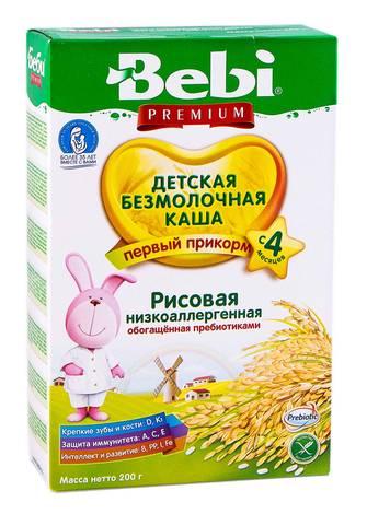 Bebi Premium Каша безмолочна рисова низькоалергенна з 4 місяців 200 г 1 коробка
