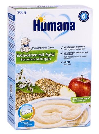 Humana Каша молочна гречана з яблуком від 6 місяців 200 г 1 коробка