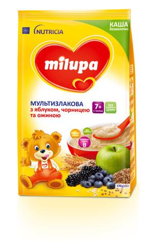 Milupa Каша безмолочна мультизлакова з яблуком, чорницею та ожиною 170 г 1 пакет