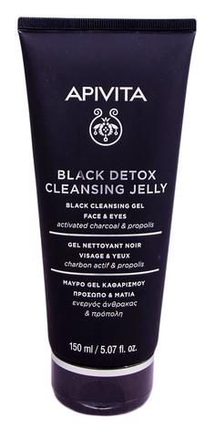 Apivita Чорний гель очищуючий для обличчя та очей з активованим вугіллям та прополісом 150 мл 1 туба