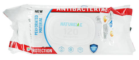 Naturelle Серветки вологі антибактерільні з D-пантенолом, іонами світла та вітаміном Е 120 шт