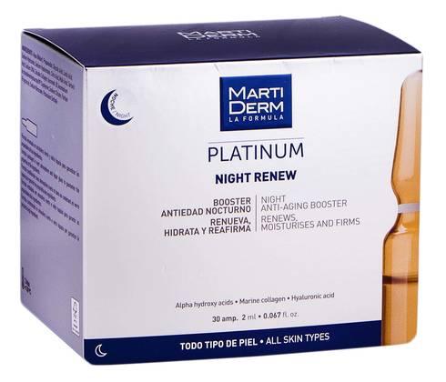 MartiDerm Platinum Найт Ренью ампули антивіковий засіб-бустер для нічного догляду для всіх типів шкіри 2 мл 30 ампул