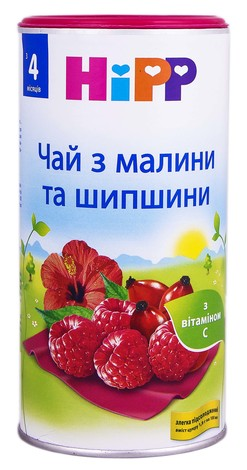 HiPP Чай з малини та шипшини з 4 місяців 200 г 1 банка