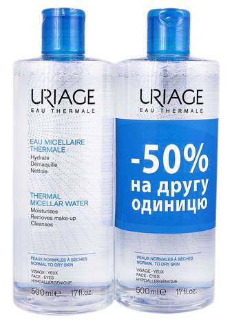 Uriage Міцелярна термальна вода для нормальної та сухої шкіри Дуо 2х500 мл 1 набір