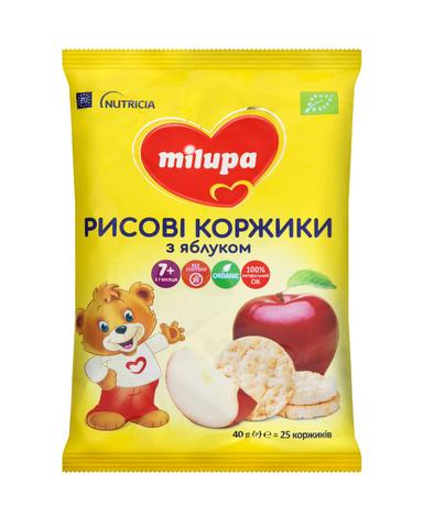 Milupa Рисові коржики з яблуком для харчування дітей від 7 місяців 40 г 1 пакет