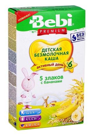 Bebi Premium Каша безмолочна 5 злаків з бананами з 6 місяців 200 г 1 коробка