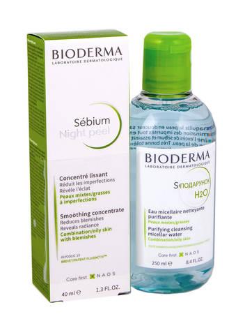 Bioderma Sensibio Night peel Концентрат 40 мл + H2O Лосьйон міцелярний 250 мл 1 набір