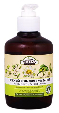 Зелена Аптека Гель ніжний для вмивання Зелений чай та гінкго білоба 270 мл 1 флакон