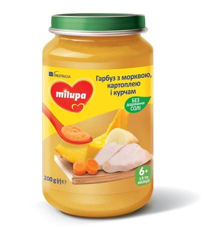 Milupa Пюре Гарбуз з морквою, картоплею і курчам з 6 місяців 200 г 1 банка