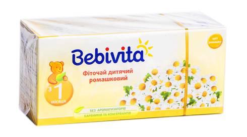 Bebivita Фіточай дитячий ромашковий з 1 місяця 1,5 г 20 фільтр-пакетів
