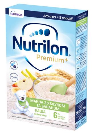 Nutrilon Каша молочна Манна з яблуком та бананом з 6 місяців 225 г 1 коробка