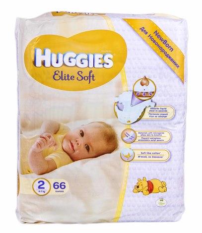 Huggies Elite Soft 2 Підгузки для новонароджених 4-7 кг 66 шт