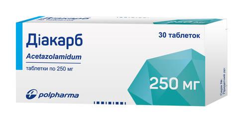 Діакарб таблетки 250 мг 30 шт