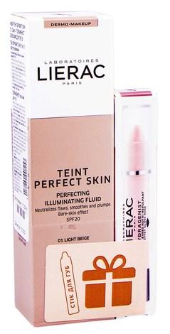 Lierac Teint Perfect Skin Тональний флюїд SPF-20 тон 01 30 мл + Hydragenist Бальзам для губ рожевий 3 г 1 набір