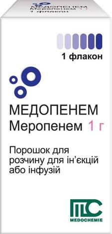 Медопенем порошок для ін'єкцій та інфузій 1 г 1 флакон