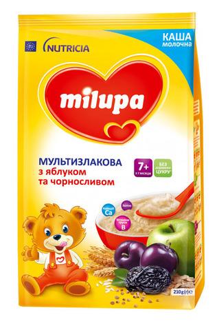 Milupa Каша молочна Мультизлакова з яблуком та чорносливом 210 г 1 коробка