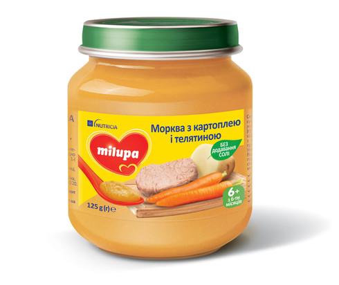 Milupa Пюре Морква з картоплею і телятиною з 6 місяців 125 г 1 банка