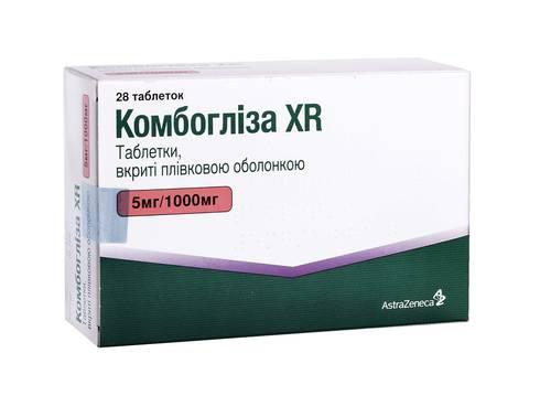 Комбогліза XR таблетки 5 мг/1000 мг  28 шт