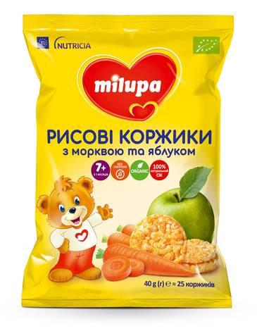 Milupa Рисові коржики з морквою та яблуком для дітей від 7 місяців 40 г 1 пакет