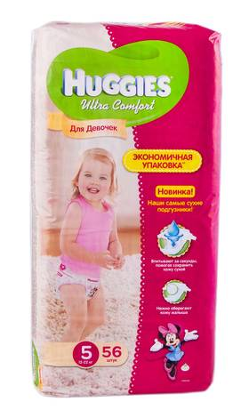 Huggies Ultra Comfort 5 Підгузки для дівчаток 12-22 кг 56 шт