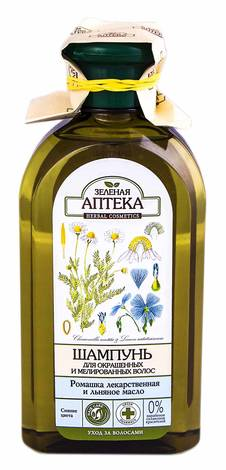 Зелена Аптека Шампунь для фарбованого та мелірованого волосся ромашка і льняна олія 350 мл 1 флакон