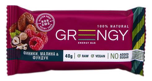 Greengy Батончик енергетичний Фініки, малина & фундук  40 г