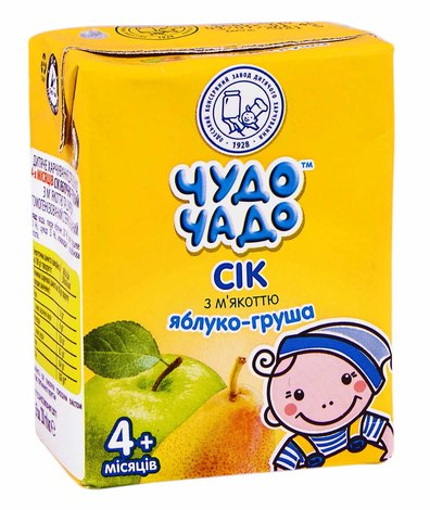 Чудо-Чадо Сік яблуко-груша з м'якоттю з 4 місяців 200 мл 1 пакет