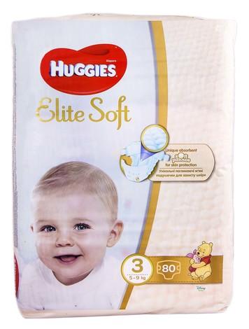Huggies Elite Soft 3 Підгузки дитячі 5-9 кг 80 шт