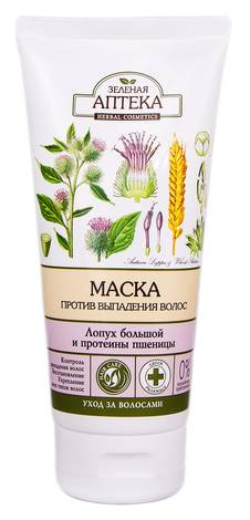 Зелена Аптека Маска проти випадіння волосся Лопух великий та протеїни пшениці 200 мл 1 туба