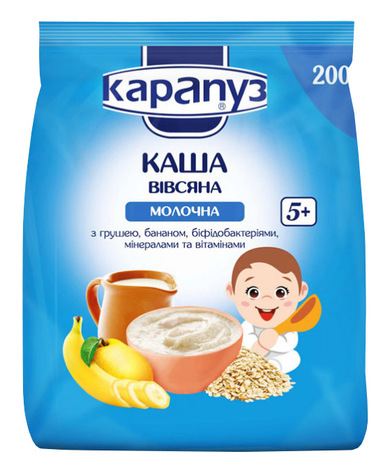 Карапуз Каша молочна вівсяна груша банан з 5 місяців 250 г 1 коробка