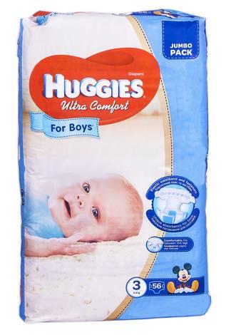 Huggies Ultra Comfort 3 Підгузки для хлопчиків 5-9 кг 56 шт