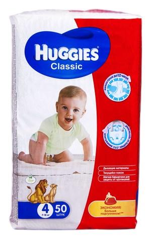 Huggies Classic 4 Підгузки дитячі 7-18 кг 50 шт