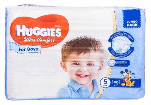 Huggies Ultra Comfort 5 Підгузки для хлопчиків 12-22 кг 42 шт