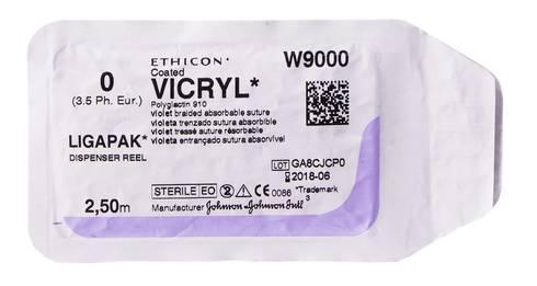 Ethicon Vicryl 0 Шовний матеріал фіолетовий 2,5 м, без голки W9000 1 шт