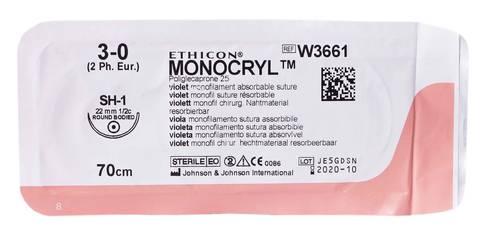 Ethicon Monocryl 3-0 Шовний матеріал фіолетовий 70 см, колюча голка 22 мм 1/2 кола W3661 1 шт