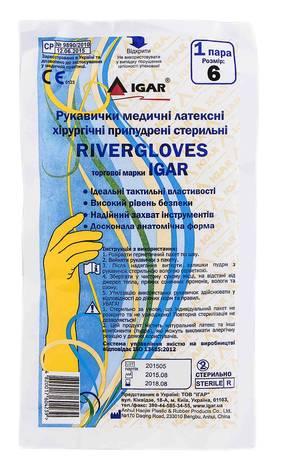 Igar RiverGloves Рукавички латексні хірургічні припудрені стерильні розмір 6 1 пара