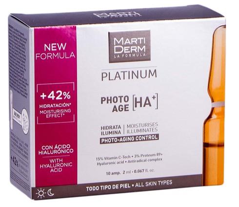 MartiDerm Platinum Фото-Ейдж На+ ампули контроль фотостаріння для всіх типів шкіри 2 мл 10 ампул