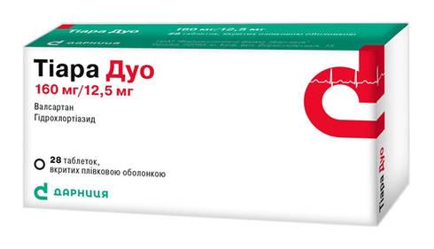 Тіара Дуо таблетки 160 мг/12,5 мг  28 шт