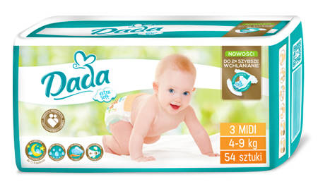 Dada Extra Soft 3 Midi Підгузки дитячі 4-9 кг 54 шт