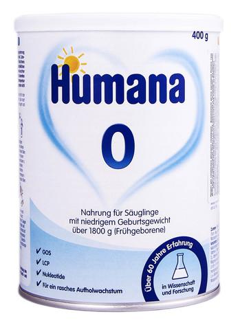 Humana 0 Молочна суміш з LC Пуфа пребіотиками та нуклеотидами для недоношених дітей 400 г 1 банка
