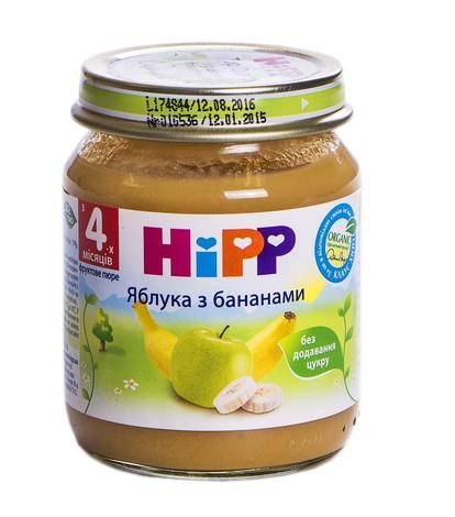 Hipp Пюре Яблука з бананами з 4 місяців 125 г 1 банка