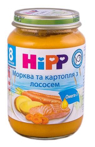 Hipp Пюре Морква та кратопля з лососем з 8 місяців 190 г 1 банка