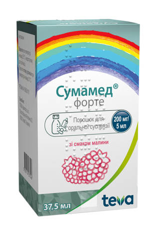 Сумамед форте зі смаком малини порошок для оральної суспензії 200 мг/5 мл  37,5 мл 1 флакон